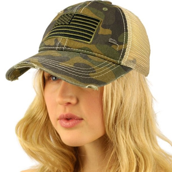 🆕 Olive American Flag Camo Ponytail Cap